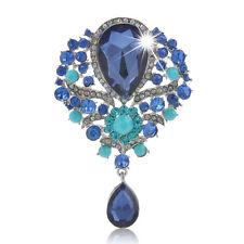 Vintage Rhinestone Crystal Flower Drop Brooch Pin Women Jewelry Wholesale