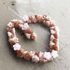 3 x 18cm strands 8mm Pink / Gold Czech Glass Flower Beads *