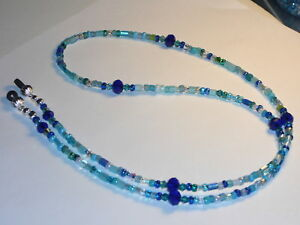 """Eyeglass Chain~Large 6/0 beads Glass Ocean Blue Mix~Cord~28"""" Buy 3 SHIP FREE"""
