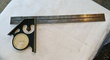 VINTAGE FRAMING SQUARE WITH 360 DEGREE ANGLE FINDER PROTRACTOR