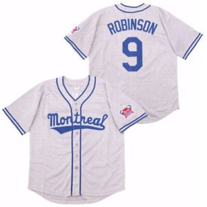 Throwback 80's Montreal Jackie Robinson #9 Baseball Jersey Stitched Name