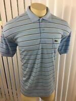 Lacoste Men's Polo Blue Striped Shirt Size 3XL XXXL Short Sleeve CROCODILE