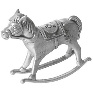 First Tooth Christening Gift Pewter Rocking Horse