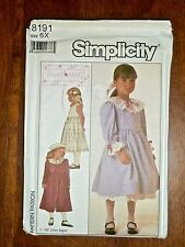 1987 SIMPLICITY PATTERN #8191 *DRESS, PETTICOAT & COAT* - GIRLS 6X - UNCUT