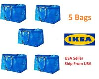 Lot of 5 pcs IKEA FRAKTA MEDIUM Carrier Bag Grocery Laundry Storage Tote Blue