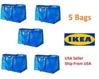 Lot of 5 pcs IKEA FRAKTA MEDIUM Carrier Bag Grocery Laundry Storage Tote Blue
