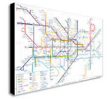 LONDON UNDERGROUND MAP CITY WALL ART CANVAS PRINT FRAMED - Various sizes