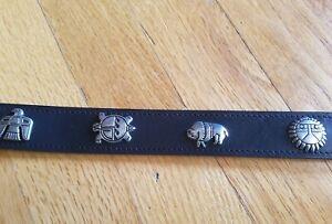 Kids Boys Southwest tribal leather black belt silver animals symbols USA made