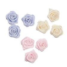 6 x Satin Ribbon Roses - Craft, Bridal, Decorations
