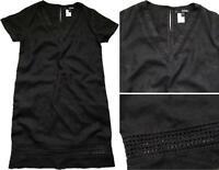 NEXT Summer BLACK Linen Blend Crochet Embroidery T-Shirt Shift Dress Tunic 6 -22