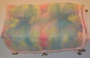 Hand Crochet sheer fabric Food Cover with Metal bead weights.