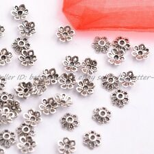 100Pcs Tibetan Silver Metal Flower Loose Spacer Beads Caps Lots 6MM