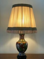 Beautiful Floral Cloisonné Table Lamp With Pale Pink Shade