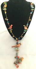 Folk art necklace painted wood birds colorful beads seeds bells waxed cord vtg