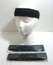 Lot of 3 Terry Cloth Headband Sweatband Yoga Running Tennis Exercise Navy Blue