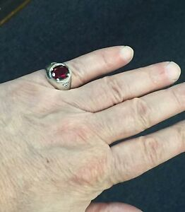 925 Sterling Silver Synthetic Ruby Men Ring available size 6-14