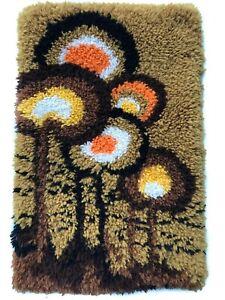 Art Mid Century Modern Rya Style Shag Rug / Abstract Mod Area design Carpet Vtg