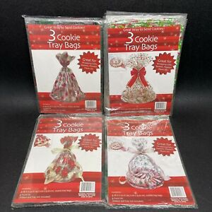 54 Christmas Cookie Tray Bags 18'' x 22'' Cellophane Assorted Holiday Designs