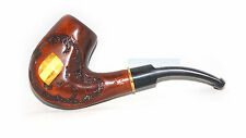 Wooden Modern tobacco smoking pipe Hand Carved * AMBER * for 9 mm Last one pipe