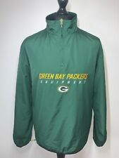 NFL Equipment Reebok Green Bay Packers Retro Green Jacket Windbreaker MED VGC