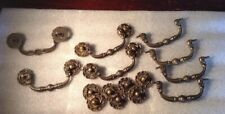 "Antique Ornate Solid Brass Draw Pulls 3 1/2"" Screw Spacing Vintage Set Of 8"