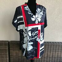 Womens The Limited Retro Boutique Knit Top Floral Red Navy Blue White Size Large
