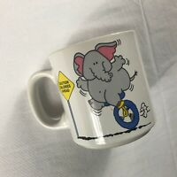 Elephant Coffee Mug VTG Russ Cup Caution Calories Ahead Funny Unicycle Workout
