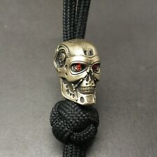 """Collectible Solid Bead """"TERMINATOR Red eyes"""" Knife Paracord Lanyard ,Handmade"""