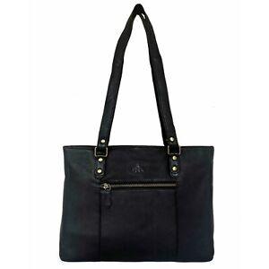 Rowallan Black Leather Shoulder Bag, Handbag