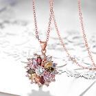 Fashion Jewelry 18K Rose Gold Flower Crystal Rhinestone Necklace Chain Pendant