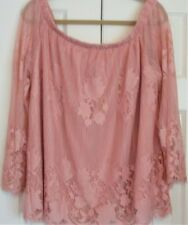 Women's Plus Size 1X Arizona Jean Co. Top Blush Lace Off Shoulder  NWT