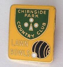 Chirnside Park Country Club Bowling Lawn Bowls Badge Rare Vintage UK (M13)