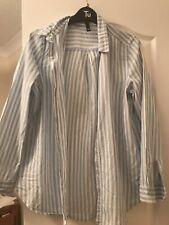 H & M Blue White Striped Blouse Grandad Shirt Size 10