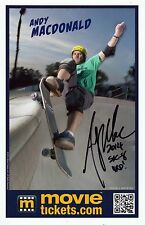 ANDY MACDONALD Signed Autographed 5.5x8.5 Photo Card, Promo, Skateboarding Great
