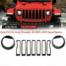 9*Front Grille Inserts+Angry Bird Headlight Cover For 2018 2019 Jeep Wrangler JL