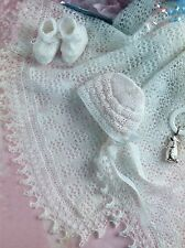 Baby Vintage Heirloom Shawl Bootees Bonnet Knitting Pattern 3ply 0-3 months  311