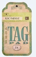K & Company Mega Tag Pad Classic K 24 Card Making Scrapbook Journal Tags RARE