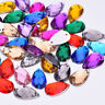 100 Faceted Bead Rhinestone Gem  8x13mm Tear Drop Flat Back Sew stick On #15