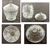 VINTAGE Indiana Glass Pressed Clear Glass Candy Dish & Lid Starburst CrissCross