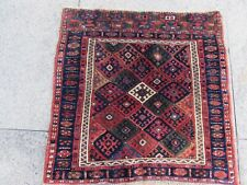 Antique Traditional Hand Made Oriental Red Blue Wool Small Rug 63x64cm Bag face