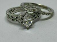 3.00 Ct Marquise White Diamond Engagement Wedding Ring Set 14k White Gold Finish