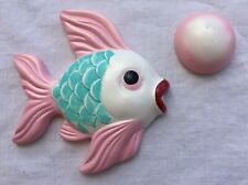 Miller Studio Chalkware Fish & Bubble Pink Aqua Bathroom Wall Hanging