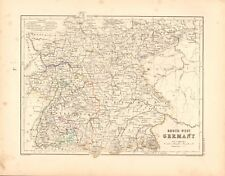 1868  ANTIQUE MAP -  SOUTH WEST GERMANY