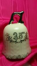 Lefton 25Th Anniversary Porcelain Bell White And Silver 3 1/