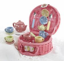 Delton Child's 17 pc Porcelain Doll Tea Set For 4 in Wicker Basket MINI DOTS