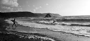 "Widemouth Bay Cornwall Surfing Black & White Photo Canvas 10x22"" panoramic (UK)"