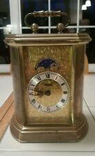 Ridgeway Western Germany Carriage Mantel Shelf Moon Phase Vintage Battery Clock