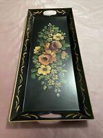 "Vintage Toleware Metal Tray Black Hand Painted Floral w/ Handles 21.5"" x 9.5"""