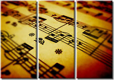Framed Huge 3 Panel Canvas Art Prints Retro Music Notes