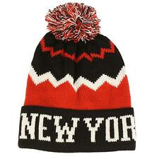 Winter Unisex New York Zig Zag Pom Pom Cuff Knit Beanie Ski Hat Cap Black Red
